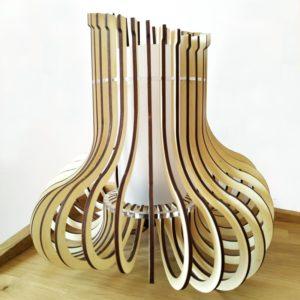 Lampara de madera y metacrilato diseño de Maqula Design